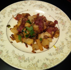 Turnip and Celery Root Hash with Bacon