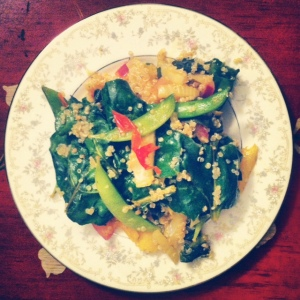 Beet Greens and Quinoa Stir Fry